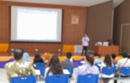 blurred  Business Conference and Presentation. Audience in the conference hall. Business and Entrepreneurship.