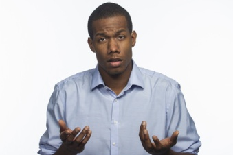 African American man questioning something, horizontal